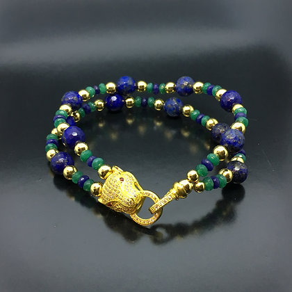 Meu Gato - Lapis Lazuli, Jade Emeralds, Sapphires and CZ Diamonds Gat