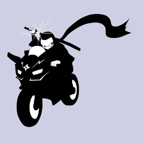 忍者バイカー(モノクロ)