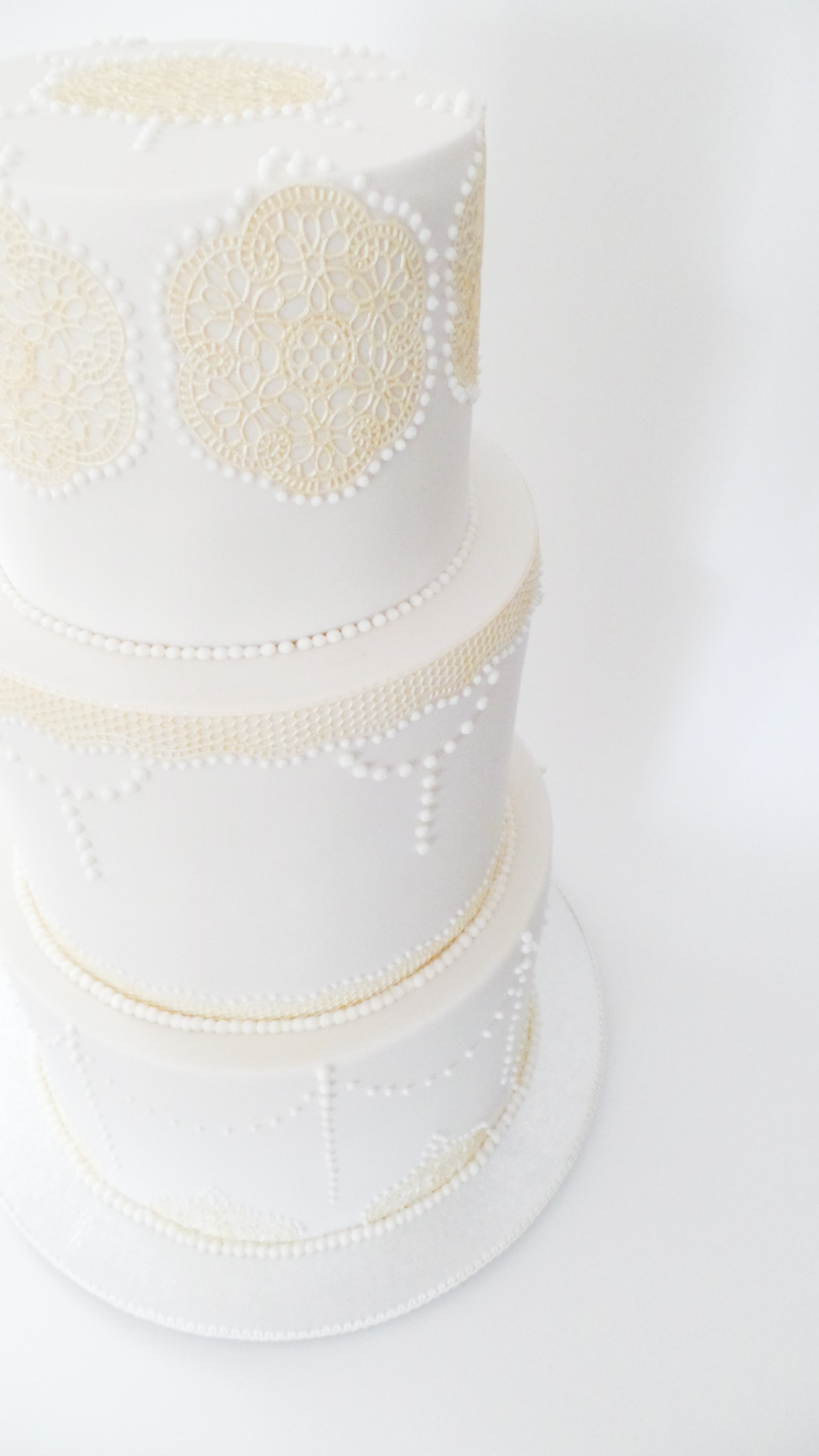 Ivory Lace and Piping