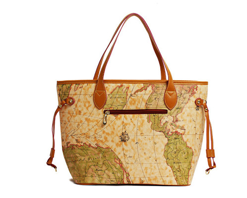 Bags laces world map print pu leather tote bags laces bags laces pu leather shopper tote gumiabroncs Choice Image