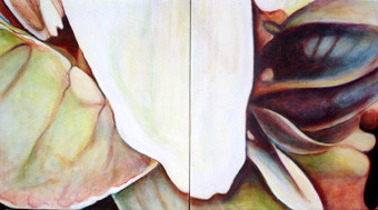 The White Series (Diptych II) ,each 98/86 cm, oil on canvas, 2007