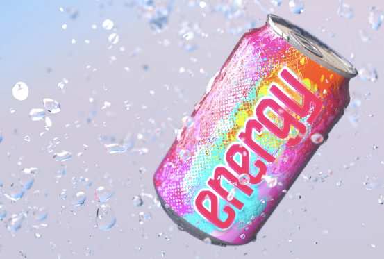 A can of pink energy drink in an icy background