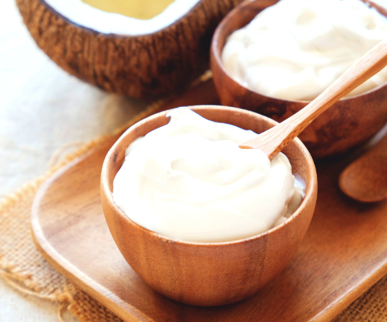 coconut yogurt in a bamboo bowl
