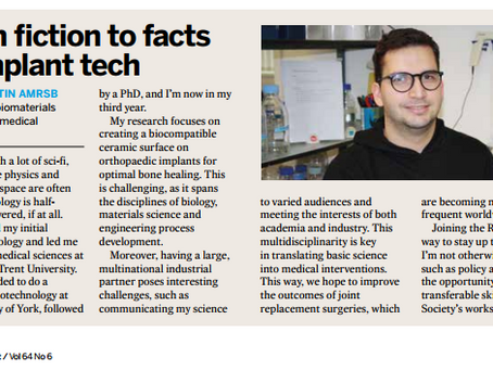 Lab Member profile in The Biologist magazine
