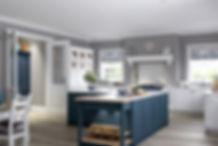 Blue and white shaker kitchen