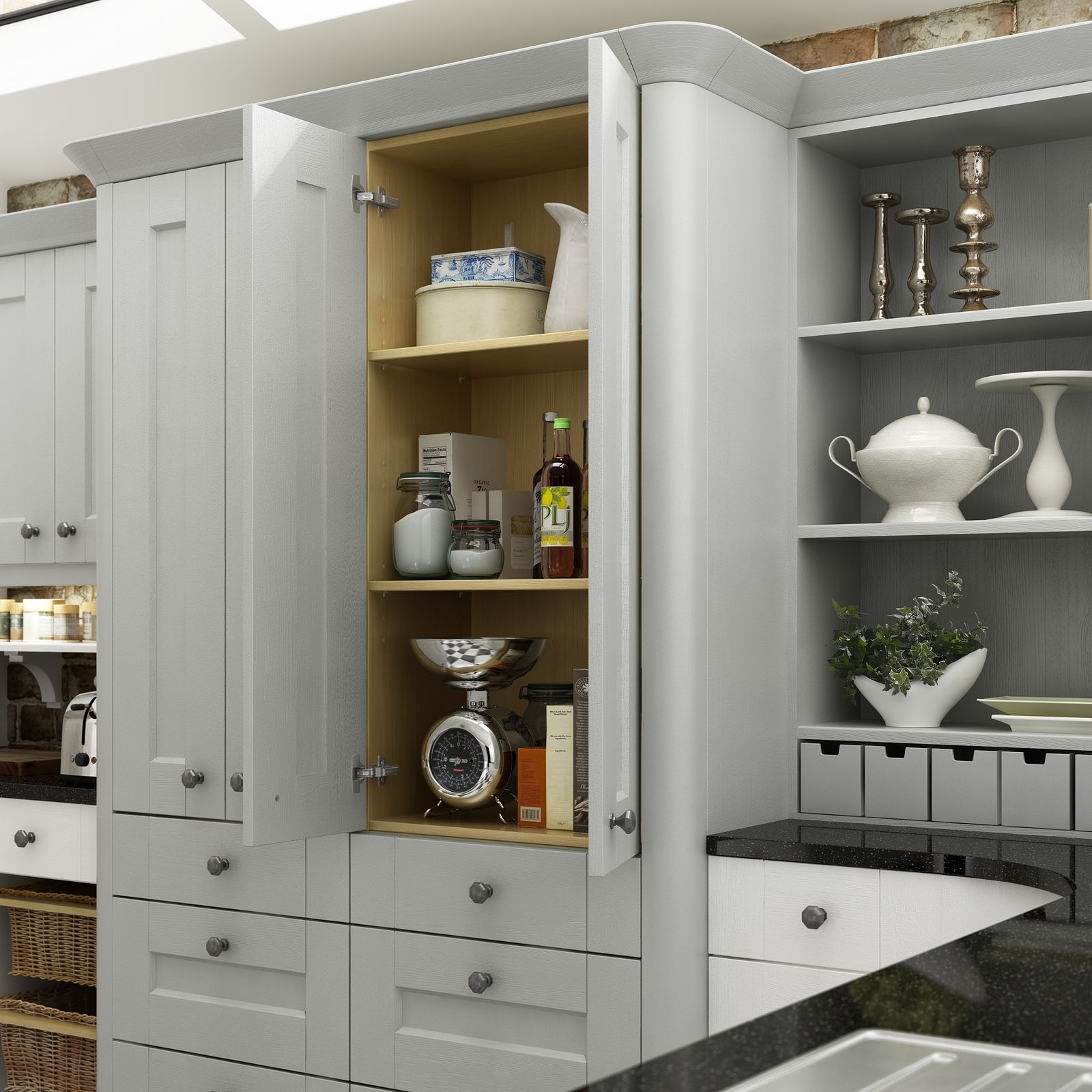 Ashbourne Dove Grey and chalk White Pantry Detail-1600x1600
