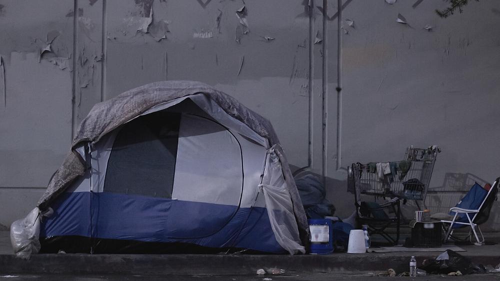La tente d'un sans-abri