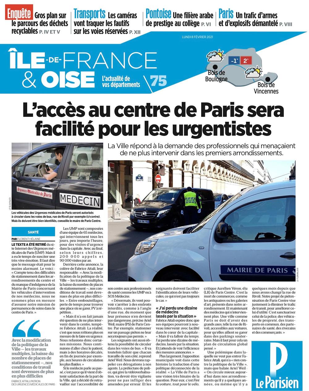 L'article de Florent HELAINE paru dans l'édition du Parisien du 8 février 2021