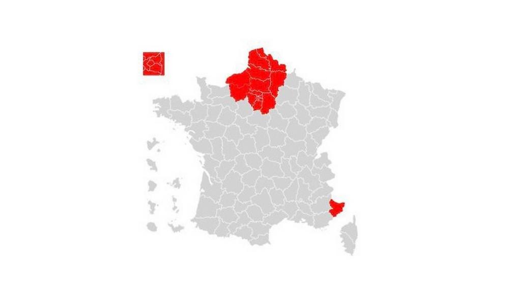 Les 16 départements concernés par le reconfinement, parmi lesquels les 8 départements de l'Île-de-France