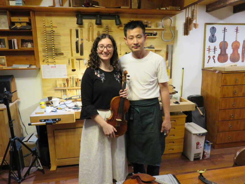 With violinmaker Liu Zhaojun in Shanghai