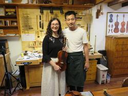 With violinmaker Liu Zhaojun in Shanghai