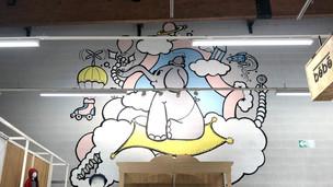 Magasin Gémo - Illustration sur mur