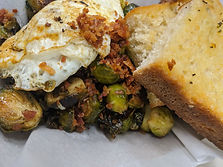 Over Easy Egg over Oven Roasted Brussel Sprouts