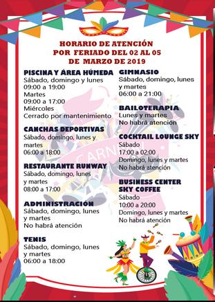 HORARIO DE ATENCIÓN DEL FERIADO POR CARNAVAL