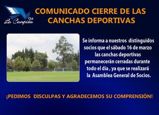 CIERRE  DE LAS CANCHAS DEPORTIVAS