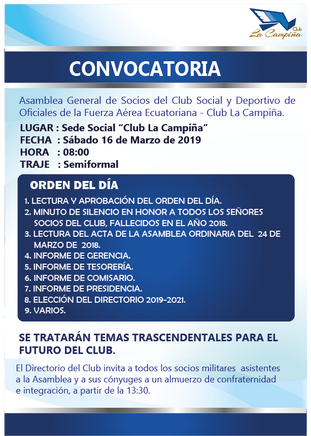 Convocatoria Asamblea General de Socios