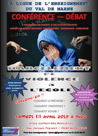 Conférence débat - harcèlement à l'école et sur les temps périscolaires