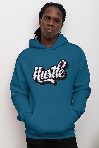 Blue hustle hoodie front view