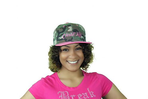 Pink camo Christian snapback hat front view