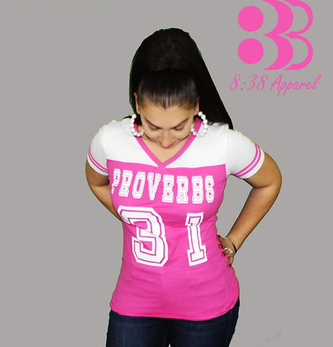 pink and white proverbs 31 football jersey