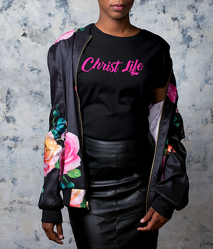 Black and hot pink Christ Life T-Shirt