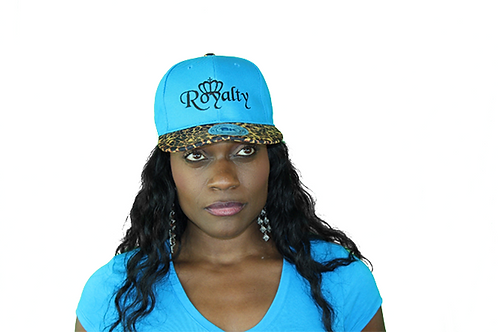 Blue leopard print snapback hat front view