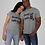 Gray couples shirt red bottoms front view