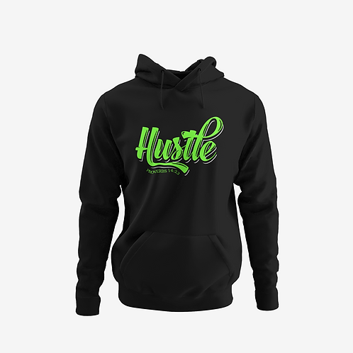 black and neon green hustle hoodie front view