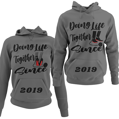 Charcoal grey couples hoodie front view