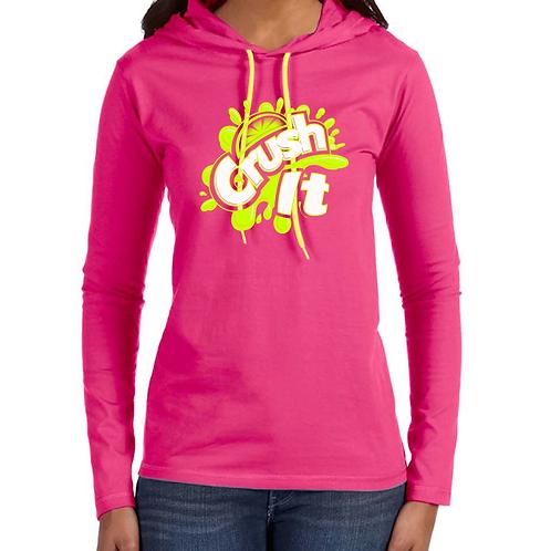 Crush pink and neon yellow women's hooded t-shirt