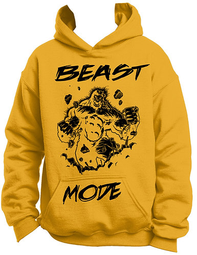 Gold and black work out fitness beast mode hoodie front view