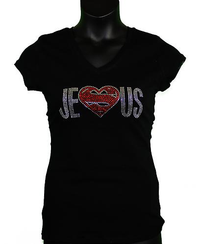 Black rhinestone Christian t-shirt