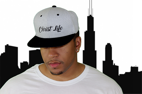 Gray and black Christian snapback hat front view