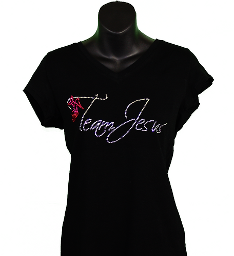 Black Christian bling women's t-shirt