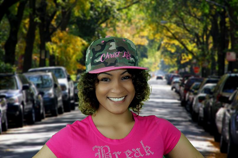 Pink and camo snapback