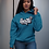 Blue hustle hoodie front view