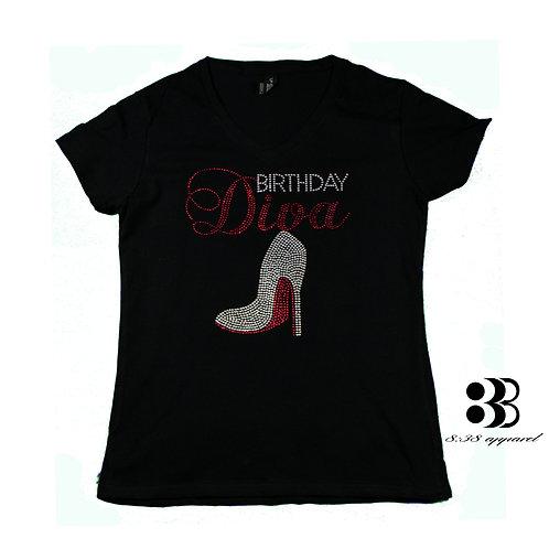 Birthday Diva Bling Rhinestone T-Shirt