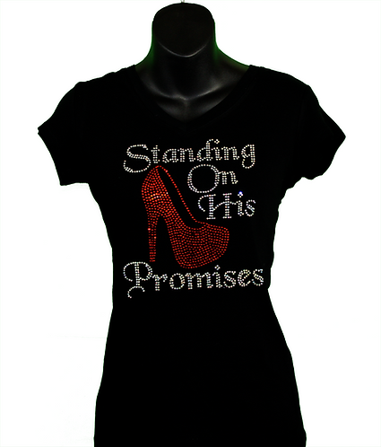 Black Christian rhinestone women's t-shirt