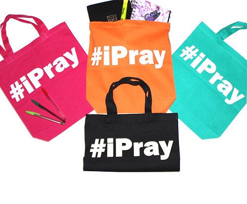 # I Pray tote bags