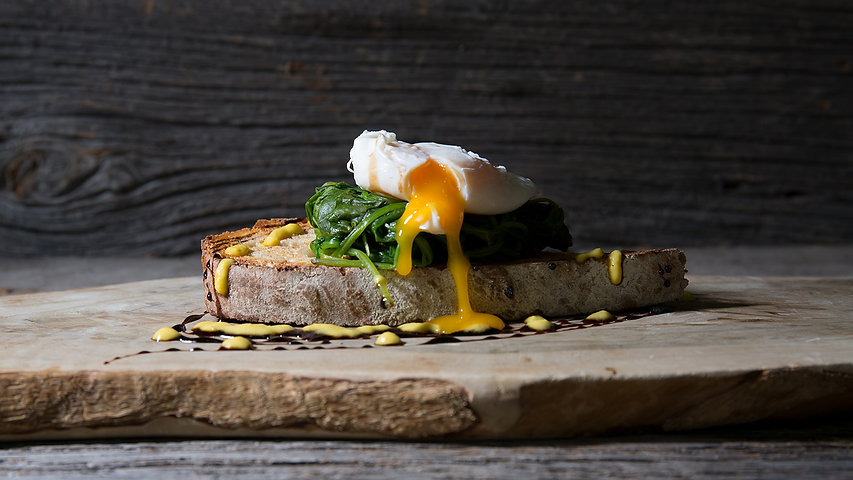 Fresh Spinach with Poached Egg & Hollandaise on Freshly Baked Bread