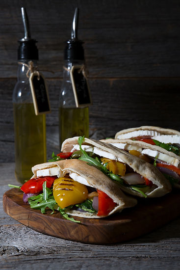 Roasted Pepper & Brie Pittas