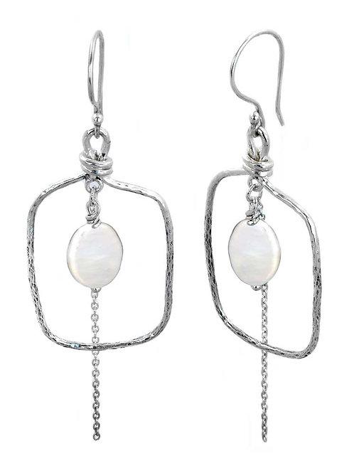 Keishi Pearl square drop earrings