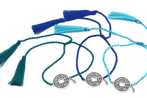 3 Bracelets LUCKY COINS sky color