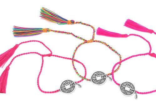 3 Bracelets LUCKY COINS rainbow color