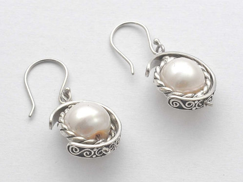 White Globe earrings