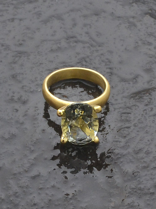 Green Amethyst Crown Ring with matte gold plate
