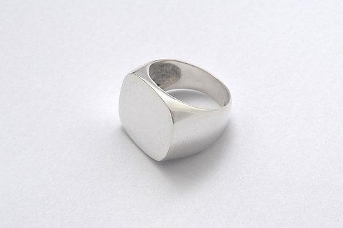 Unisex Cushion Signet Plain Ring
