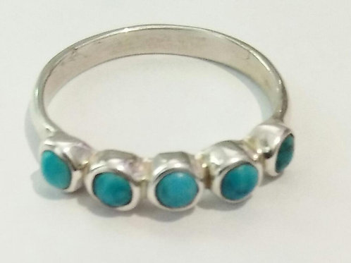 Lima Ring with five round turqoise stones