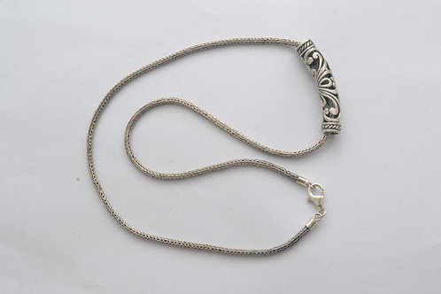 Tube Necklace with handmade chain