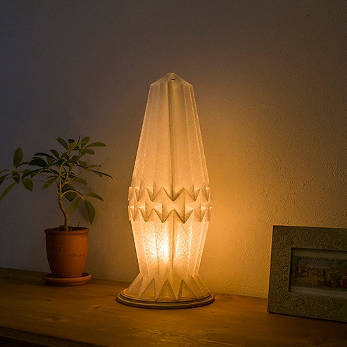 Origami Table Lamp Crystal  M  土佐落水和紙